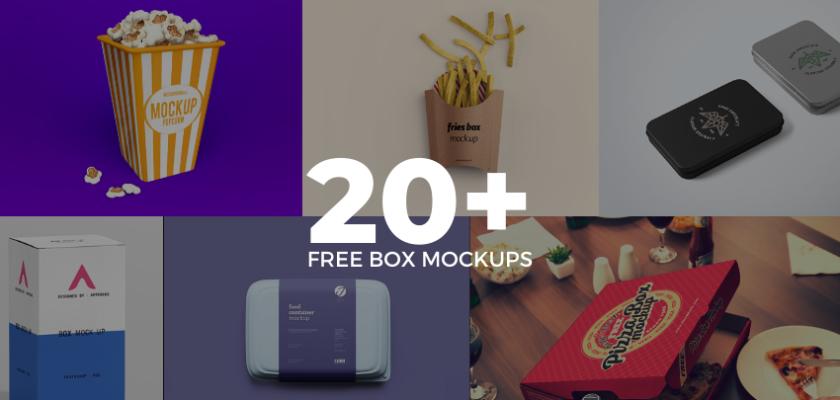 20 Free Box Mockups 2020 Graphic Pie